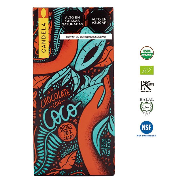 Chocolate Bitter con Coco Orgánico 70g / 70% Cacao